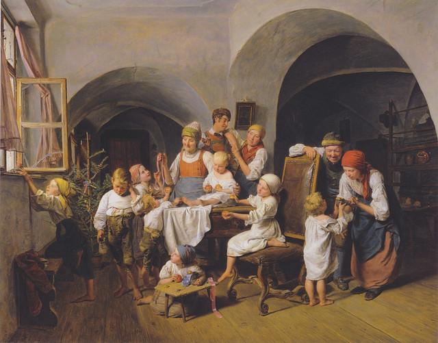 Christtagmorgen (Christmas Morning), 1844, oil on panel, Ferdinand Georg Waldmüller