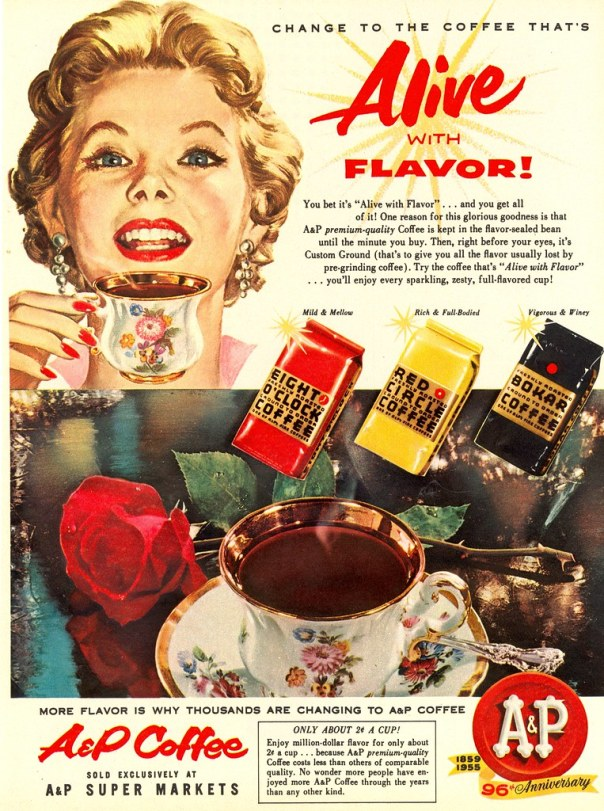 A and P Coffee - published on Woman's Day - October 1955