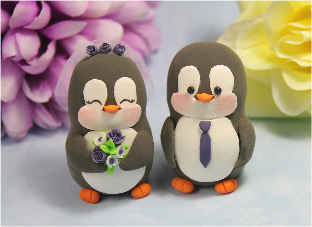Custom Penguin Wedding Cake Toppers Personalized Bride