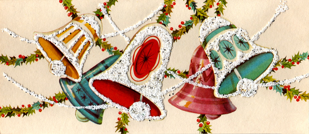 Vintage 1967 Christmas Card Bells Created By Hawthorne