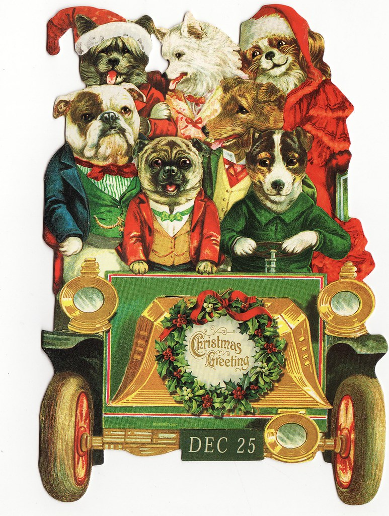 Carload Of Dogs Christmas Card From Punch Studios