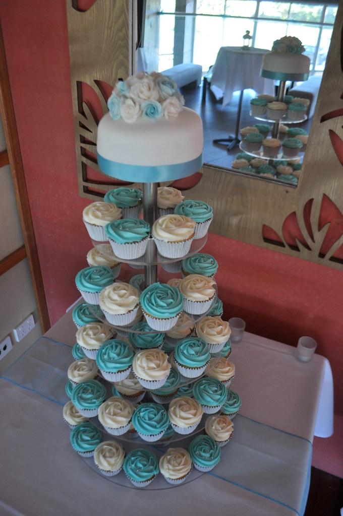 Bright Aqua And White Wedding Cupcakes White Choc Mud