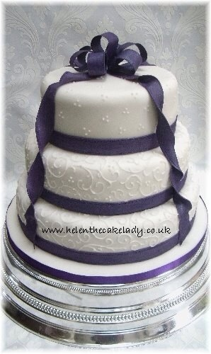 Cadbury Purple Ribbon 3 Tier Wedding Cake Helen Flickr