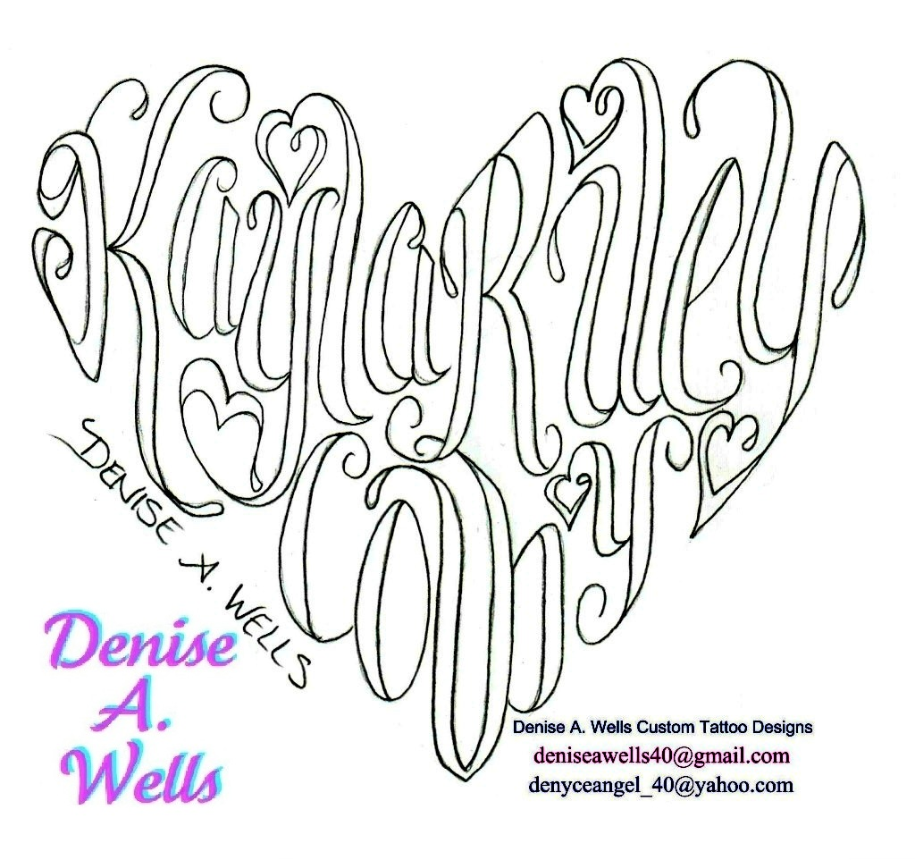 Names Made Into A Heart Shaped Tattoo By Denise A Wells