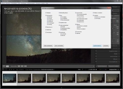 Stap 3 - Alle instellingen naar de serie foto's kopiëren zodat ze allemaal exact dezelfde bewerking hebben gehad.