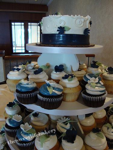 Navy Blue Cupcake Tower And Cake A Wedding Cupcake Tower
