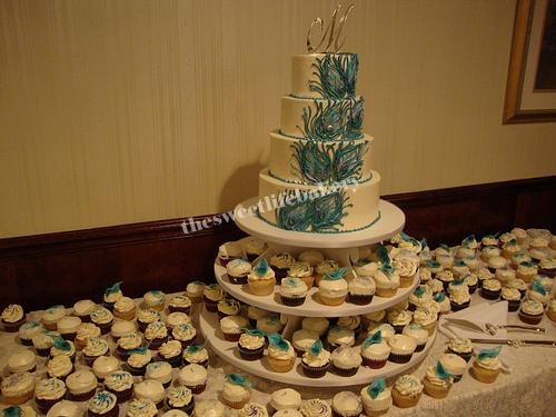 Peacock Feather Cake And Cupcakes A Four Tier Hand