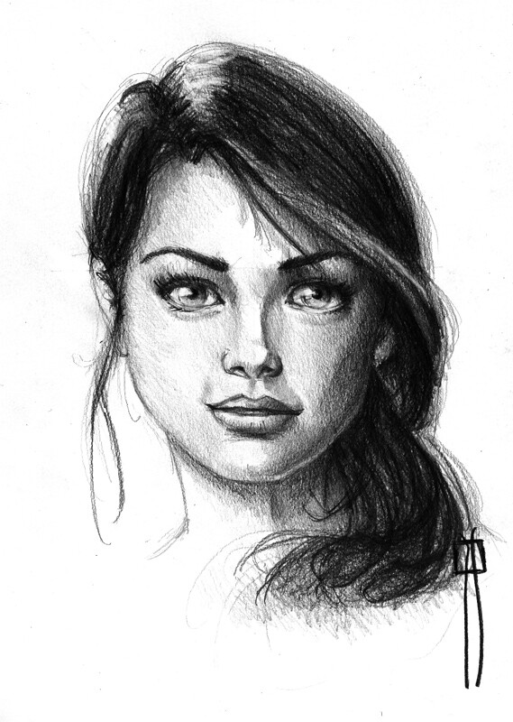 female face drawing made with pencil female sketch