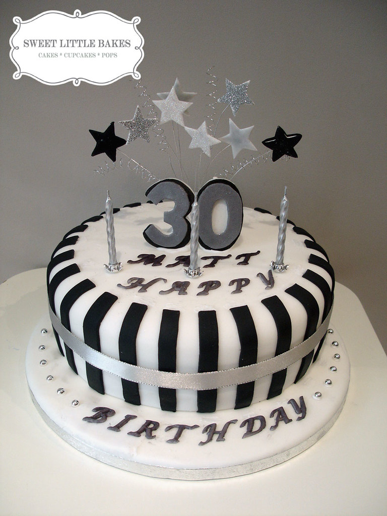 30th Birthday A Simple Black And White Cake Sweet