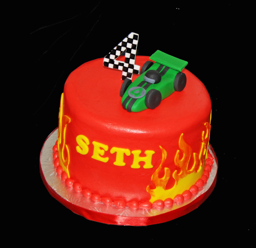 4th Race Car Themed Birthday Cake With Flames
