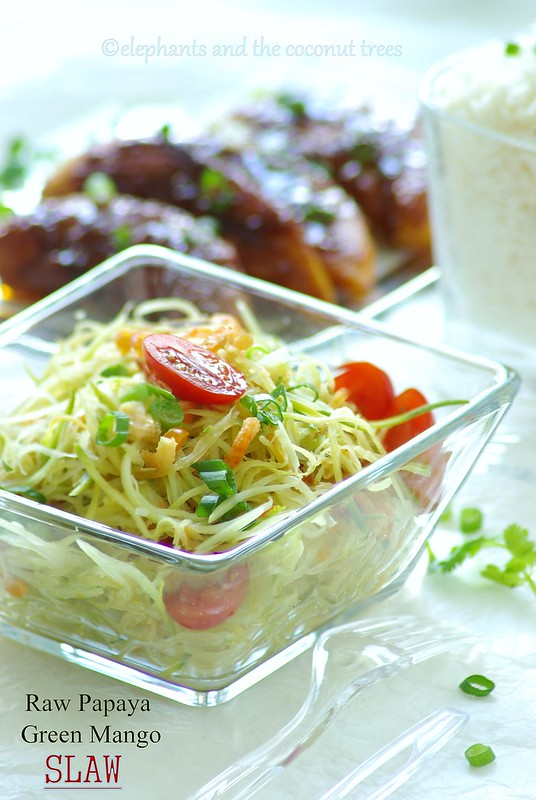 Raw papaya and green mango slaw elephants and the coconut trees more slaw ideas from food network friends forumfinder Choice Image