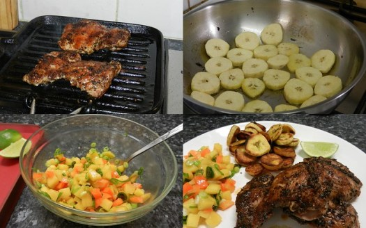 Jerk chicken, plantain and mango salsa