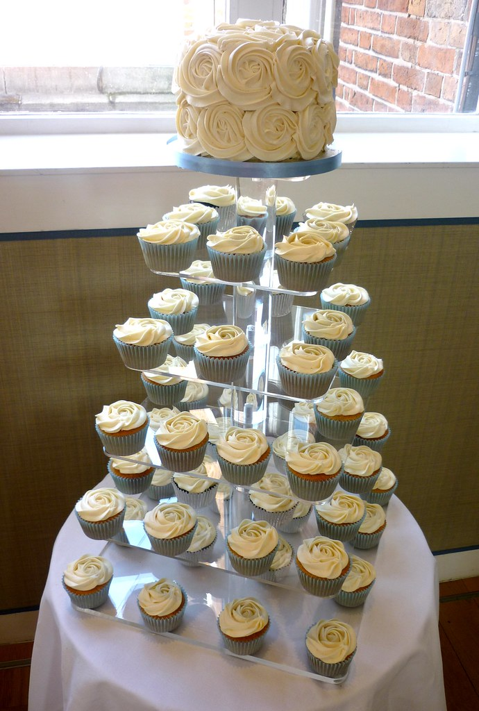 Pale Blue And Ivory Rose Swirl Wedding Cupcake Tower Flickr