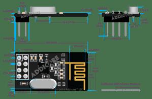 2pcs Addicore nRF24L01 Wireless Transceiver Modules