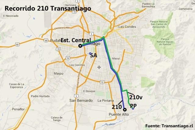 Recorrido 210 Transantiago