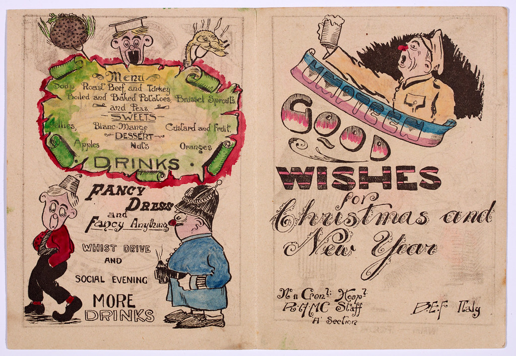 Menu inside a Christmas Card from the Royal Army Medical Corps at No. 11 General Hospital - a part of the British Expeditionary Force in Italy, 1918.