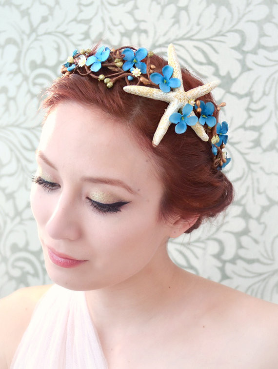 Beach Wedding Hair Accessory Starfish Flower Crown Merma