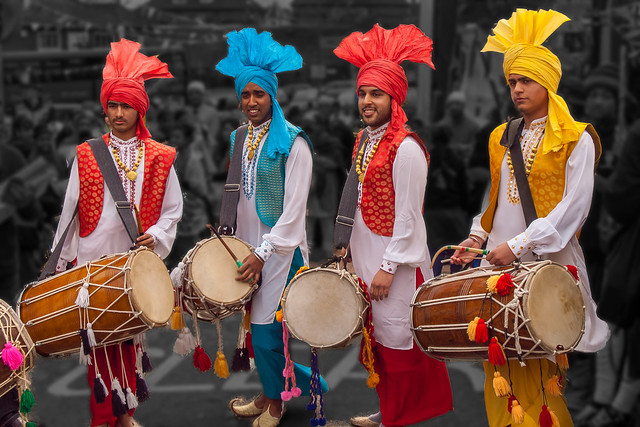Sikh Dhol drummers at the 2013 Vaisakhi parade in Southampton