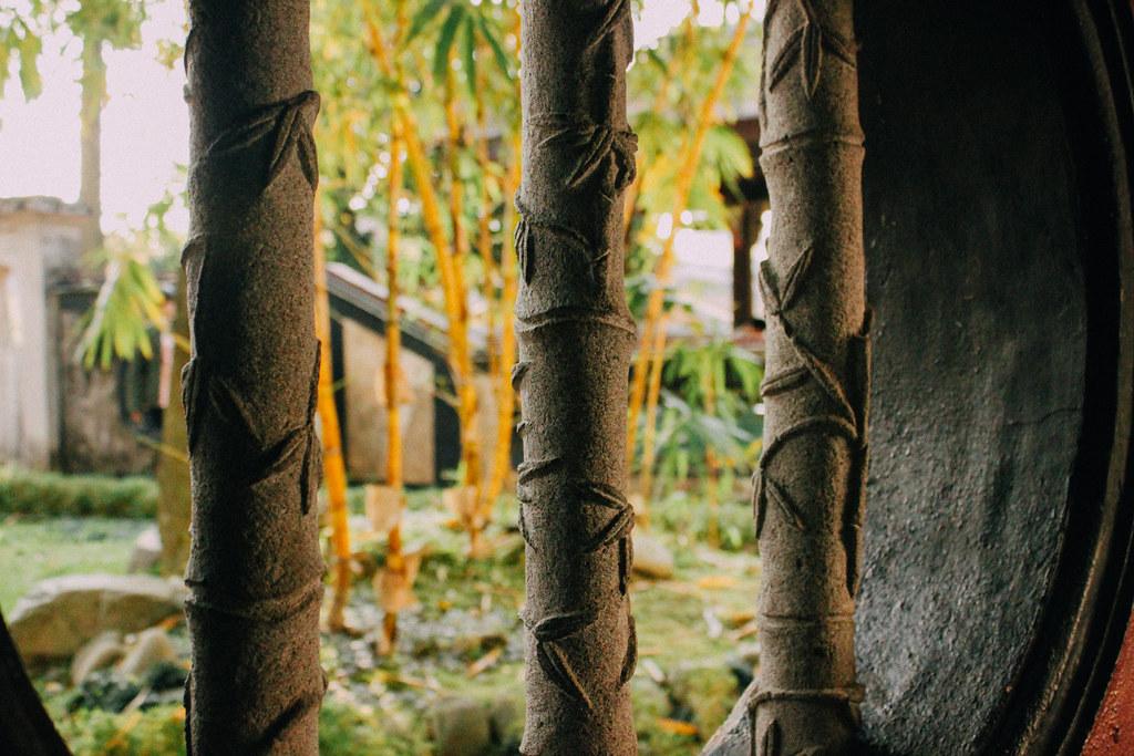 Ramas de bambú de cemento