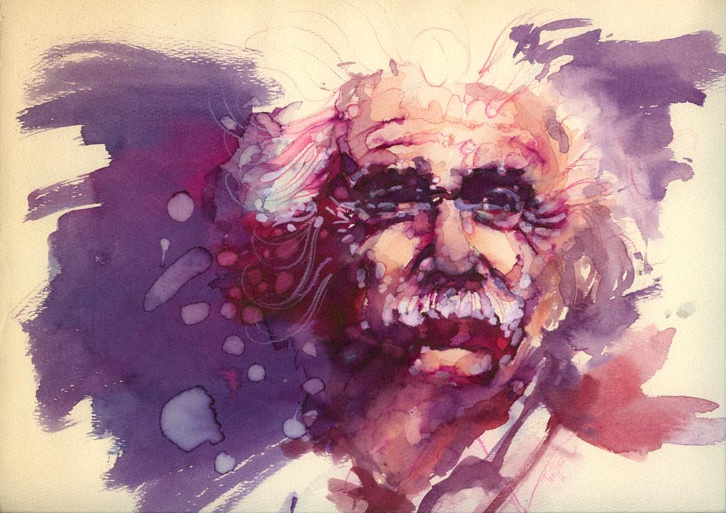 Albert Einstein Watercolor Portrait Albert Enstein