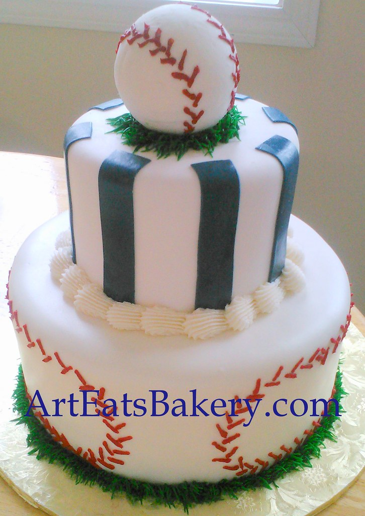 Boys Baseball Baby Shower Cake Cake With Blue Stripes Ba