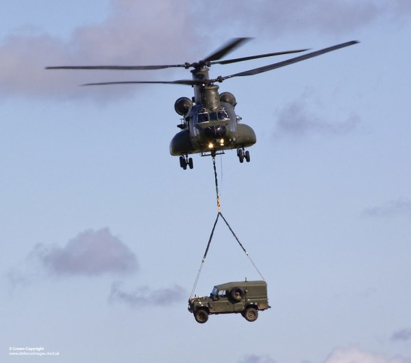 RAF Chinook Carrying Army Land Rover A Royal Air Force