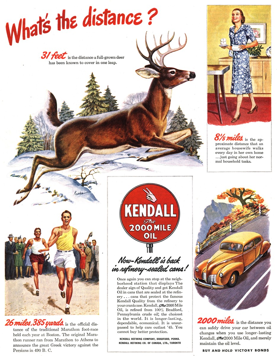 Kendall Motor Oil - published in The Saturday Evening Post - November 17, 1945