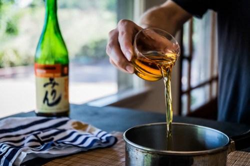 adding mirin rice wine