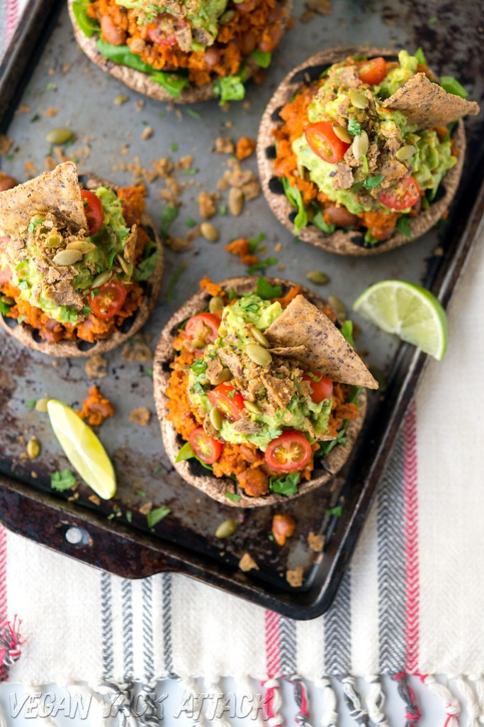 #Vegan Soyrizo-Stuffed Mushrooms with Guacamole and spicy chips! #glutenfree