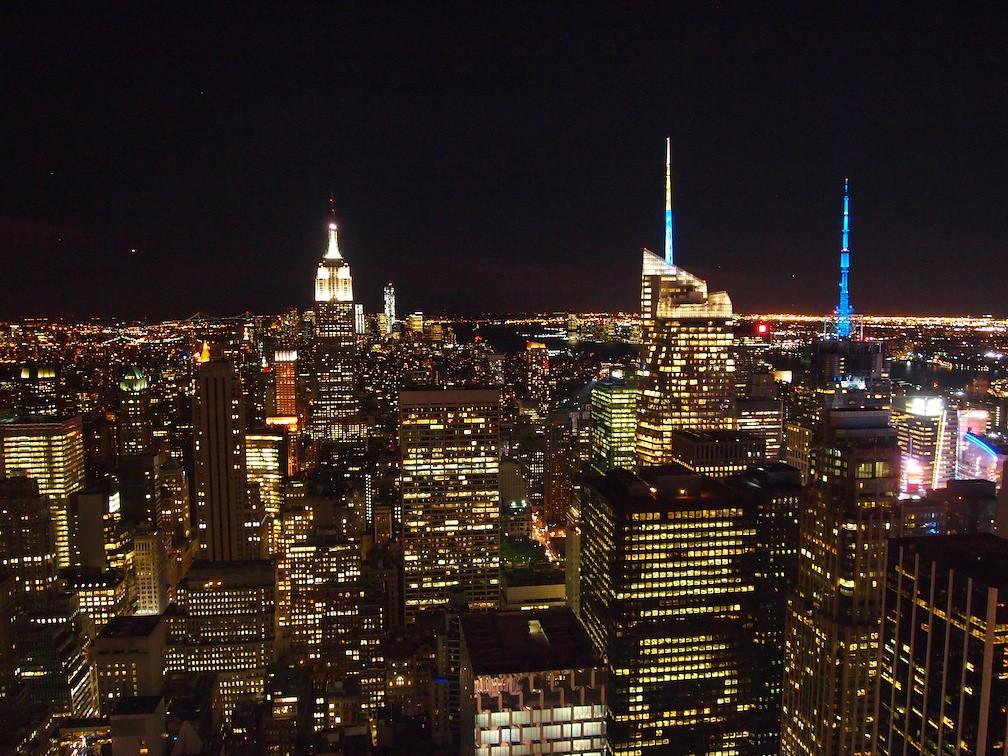 Rockefeller Center View Night New York NY Nighttime