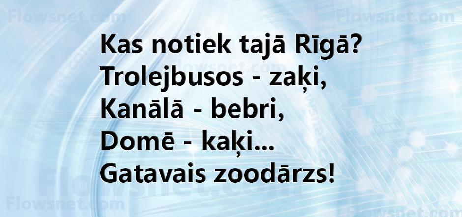 Kas notiek tajā Rīgā?  Trolejbusos - zaķi,  Kanālā - bebri,  Domē - kaķi...  Gatavais zoodārzs!