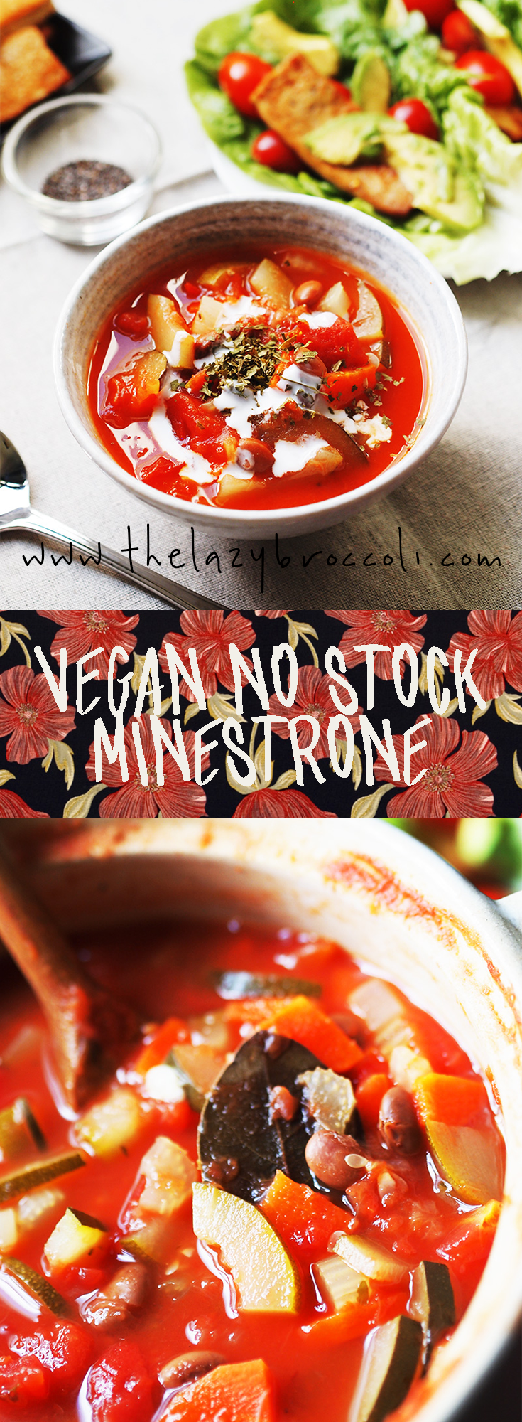 this vegan no stock minestrone is so easy and delicious! #vegan #nostock #minestrone #lowcarb #glutenfree #noonionnogarlic #vegetarian #thelazybroccoli #soup #recipe