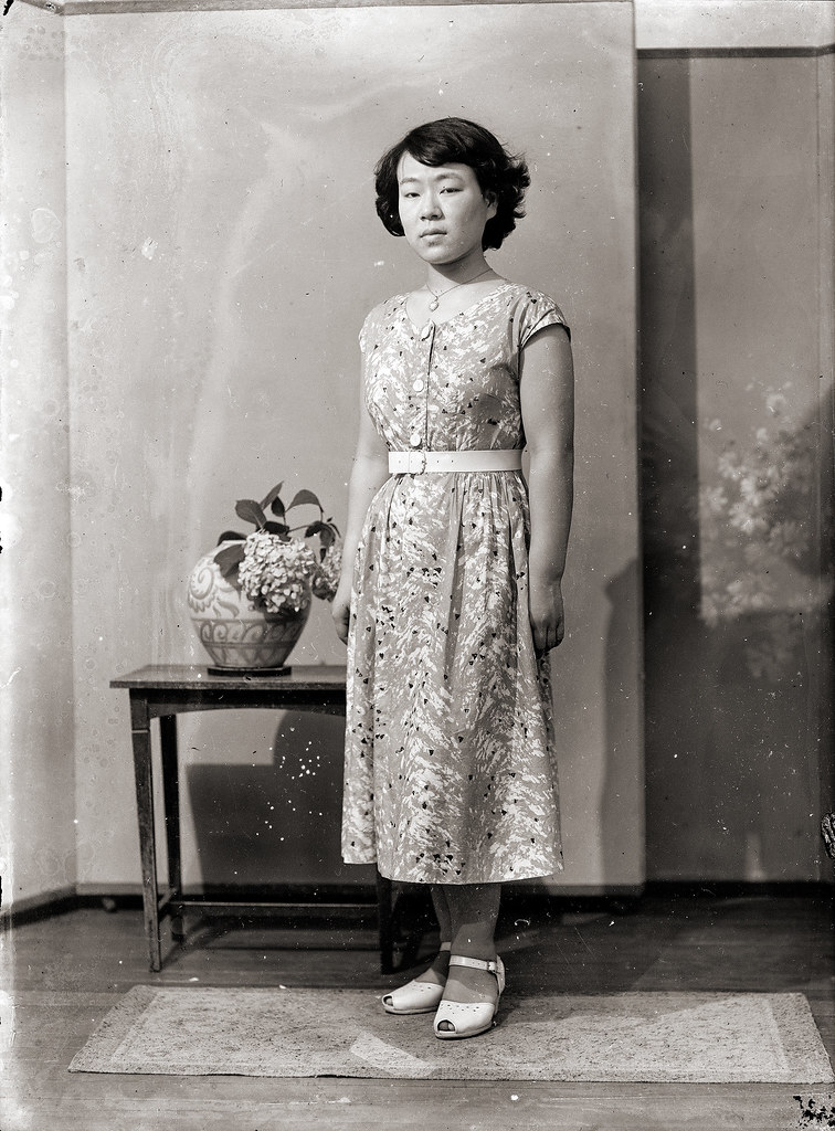 Japanese Woman In Belted Dress Vintage A Vintage Photo