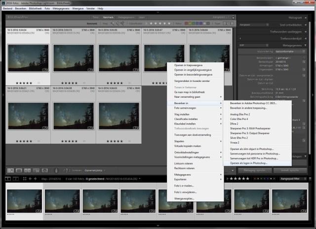 Stap 4 - Selecteer de acht foto's en open deze als lagen in Photoshop