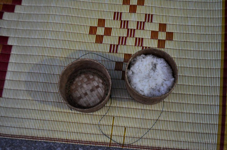 Sticky rice to hand out to the monks in Chiang Khan, Thailand, March 2015.