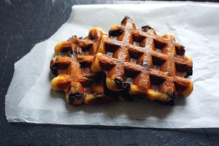 Gluten free blueberry belgian waffles
