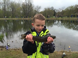 Boy holding trout