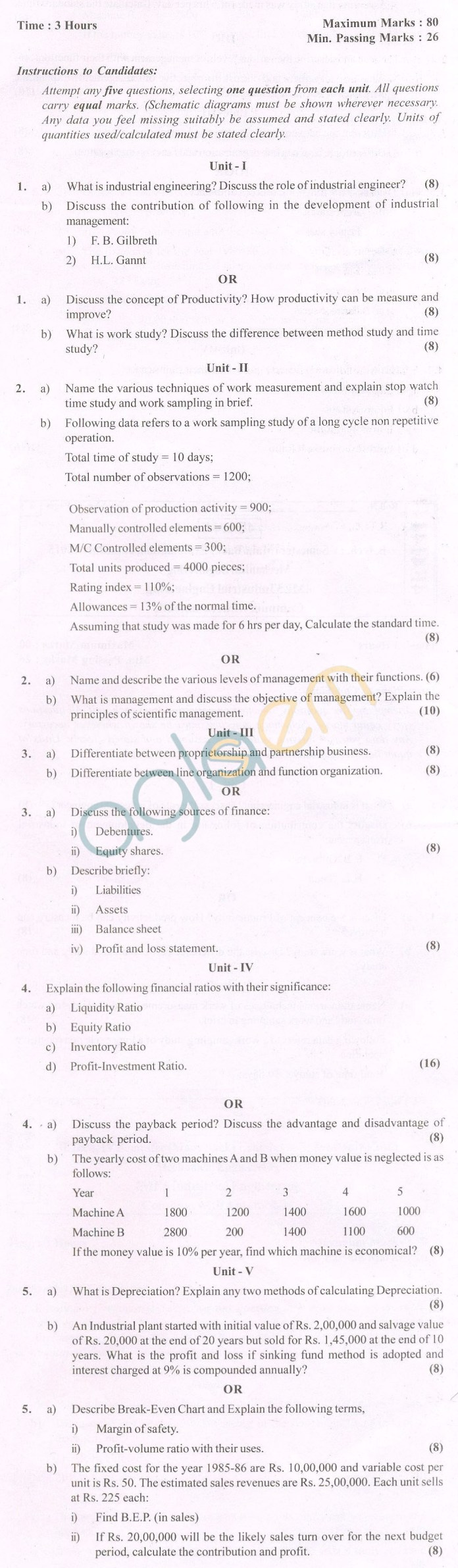 industrial engineering question papers