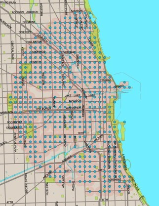 Hypothetical Divvy service area if all 476 stations were spaced 1/4 mile apart