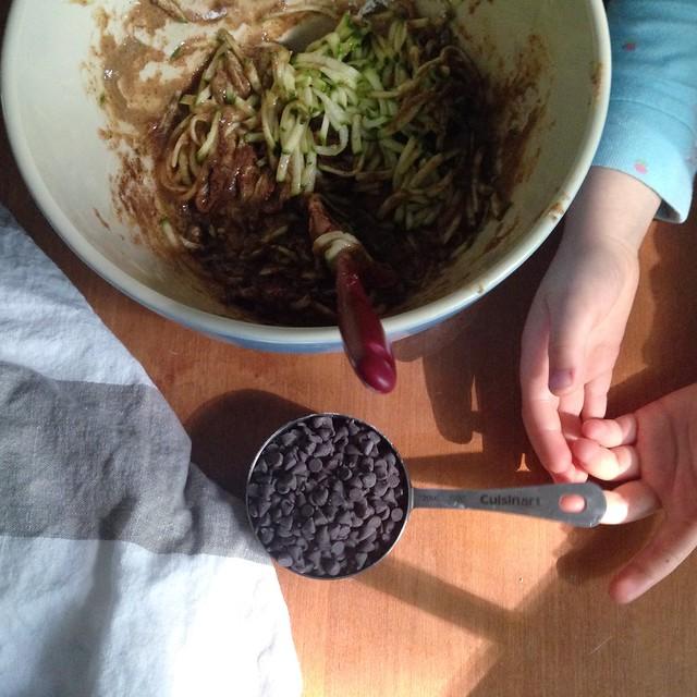 mini chocolate chips for flourless chocolate chip zucchini cake