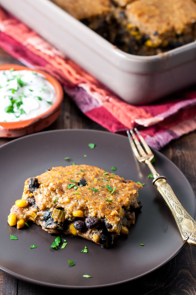 Tomato-free healthy tamale pie, with a nightshade-free option