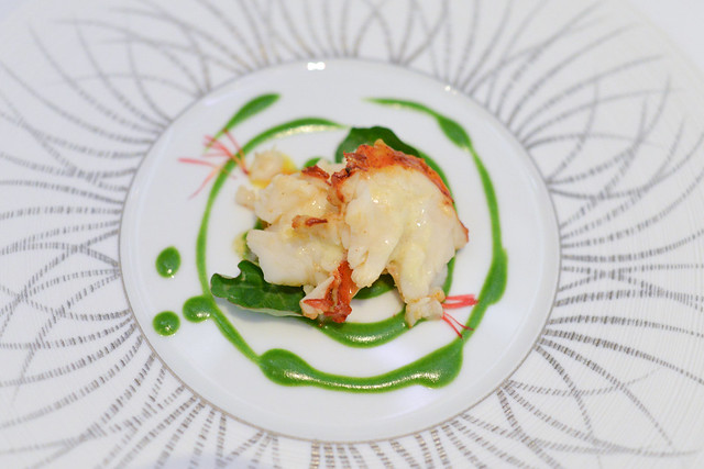 MAINE LOBSTER Lobster Tail and Rillettes with Ginger, Braised Baby Carrots and Enoki Mushrooms, Green Tea Butter