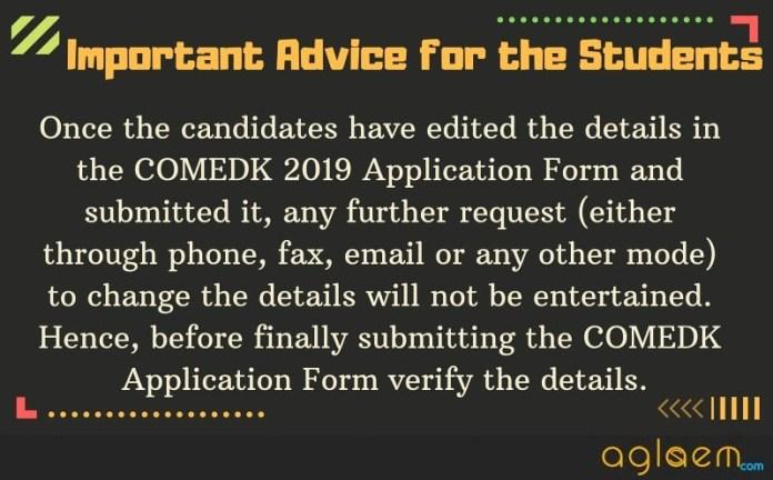 COMEDK 2019 Form correction