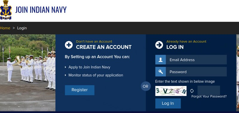 INdian Navy AA Admit Card 2019 - Login page