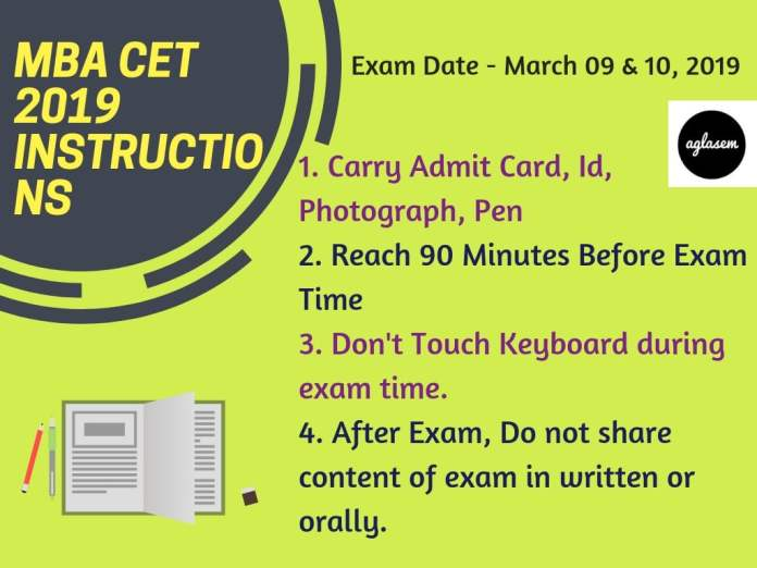 MBA CET 2019 Exam Day Important Instructions