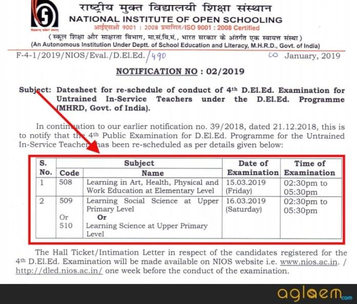 NIOS DElEd 4th Sem Revised Date Sheet