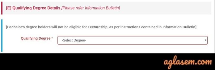 Qualifying Degree Details in CSIR UGC NET Application Form 2019