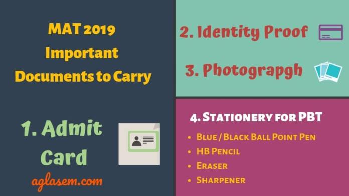 MAT 2019 Exam Day Important Documents to Carry