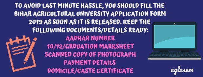 BIHAR AGRICULTURAL UNIVERSITY APPLICATION FORM 2019