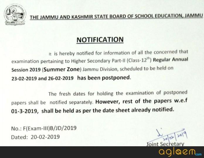 JKBOSE 12th Date Sheet 2019 Jammu